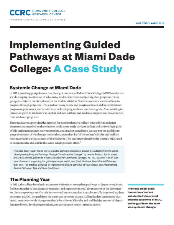 Implementing Guided Pathways At Miami Dade College A Case Study