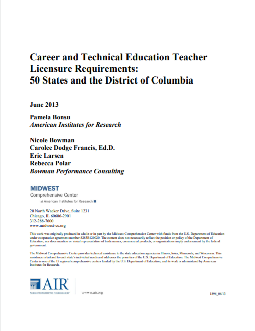 CTE Teacher Licensure Requirements: 50 States and District of ...