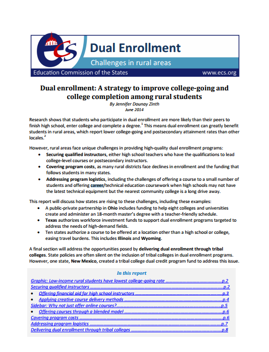 Dual Enrollment A Strategy To Improve College Going And College