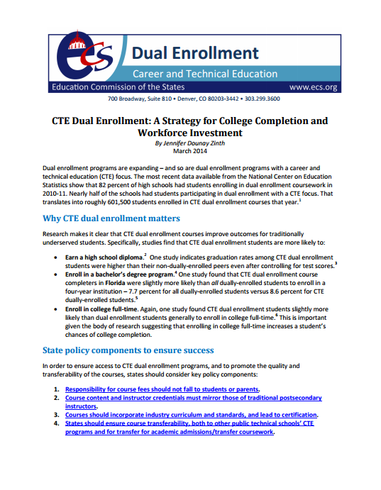 Cte Dual Enrollment A Strategy For College Completion And Workforce