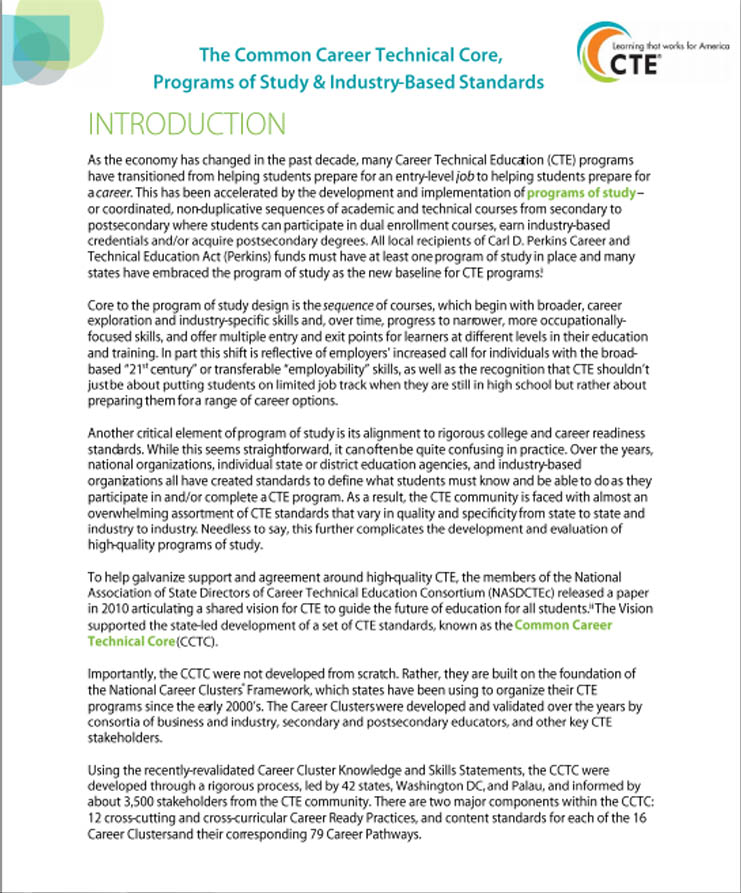 career technical education research paper Giannone, david kealy, & john s vocedplus is career technical education research paper ncver's free international research database for tertiary education relating to workforce needs.